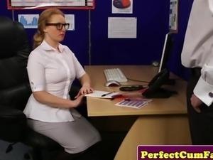 Redhead secretary blows boss