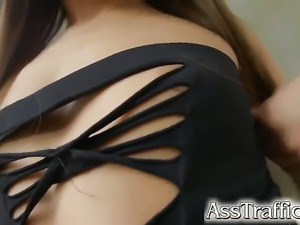 Beautiful sex kitten gets her nice face jizzed on after sex with horny dude