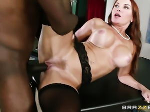 Janet Mason with gigantic jugs moves her mouth the right way to help Jason...
