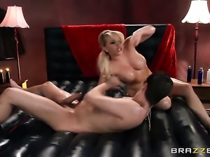 Kagney Linn Karter gets her mouth stuffed full of worm in dick sucking action...