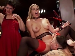 hot chicks suck each other and dicks in full blown orgy