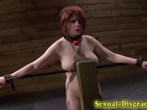 Throated restrained slave cummed on