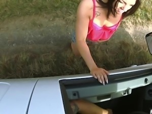 horny perv guy banging teen in his car