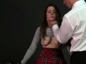 Busty bdsm slave anal banged in dungeon