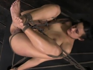 Hogtied submissive being canned roughly
