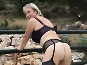 Blonde Mother Masturbating Outdoors