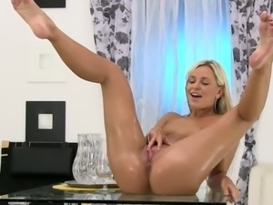 Glass table provides a perfect view on her pussy.