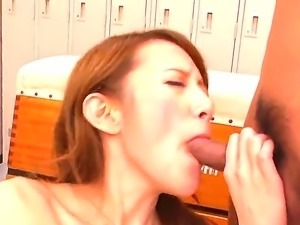 Flat chested Japanese slut Mai Shirosaki gets her mouth and trimmed pussy...
