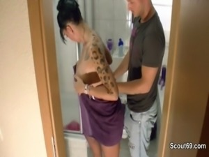 Step-Brother caught german teen in shower and fuck her hard free