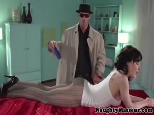 Katie St Ives massages cock with her mouth free
