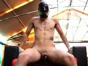 A sexy blonde shemale fucked by a masked man