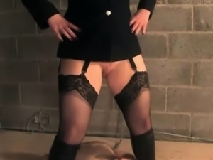English bondage domina pees on weak sub