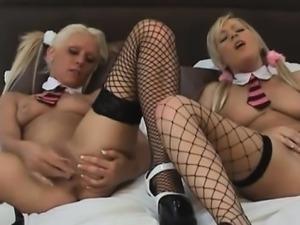 Lesbian schoolgirls Jessica and Ella play together on their
