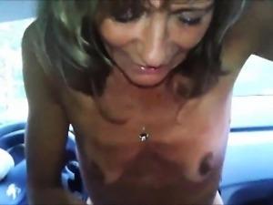 Bony grandma stroking his cock to orgasm