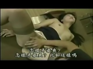 Asian teacher and student have sex in classroom