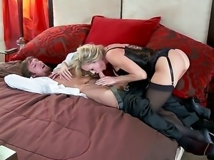 Brandi Love likes to be in charge. She is doing a blow job to get her guy in...