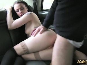 Sexy babe strips and gets banged hard
