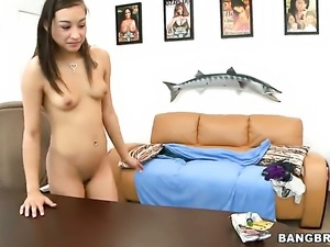 Brunette asian Arial Rose with tiny boobs and trimmed bush is desperate for...