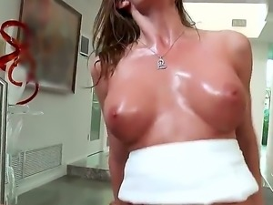Silvia Saige and Danny Mountain are having a massage together. The brunette...