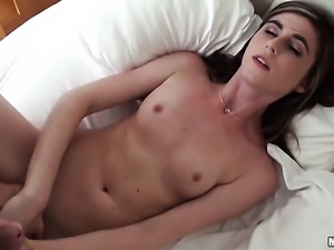 Mia Mae gets her mouth attacked by dudes beefy erect man meat