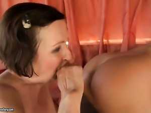 Brunette Orsay is on the edge of nirvana after lesbian sex with Eve Tickler
