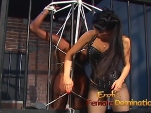 Jailed ebony girl punished by mistress Natasha after being