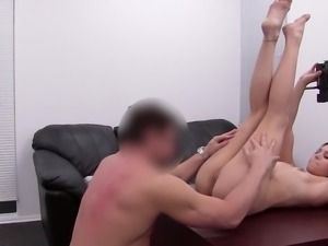 Twisting her tiny body to offer enjoyable sex