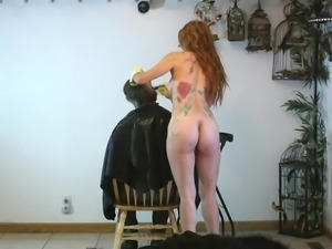 Hairstylist is coloring clients hair nude