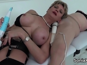 Unfaithful british milf lady sonia presents her massive boob