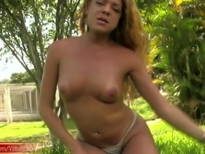Redhead tranny reveals huge ass cheeks and puffy nipples
