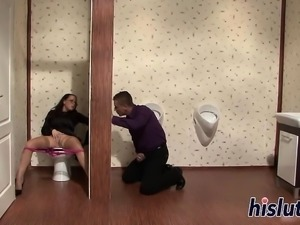 Sexy slut gets banged in the toilet
