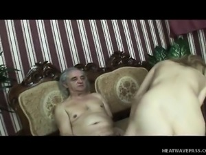 Old dude gets a nubile young blonde to bang and swallow his jizz
