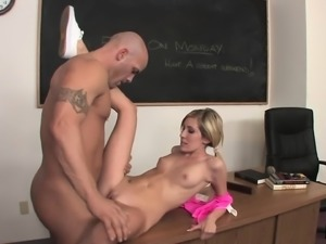 Submissive blonde schoolgirl Cara Dee loves to be treated like a slut
