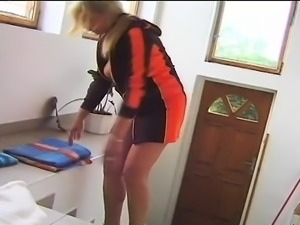 Blonde mommy Irena touches herself and feeds her desire for young meat