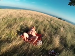 wild sex with blonde in nature