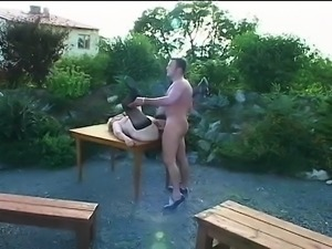 Ancient granny masturbates outside and a cock comes along to suck and nail her