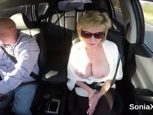 Adulterous british mature lady sonia exposes her heavy boobs