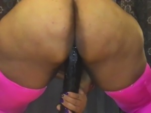 BIG BUTT MAGIC riding RAMBONE DILDO!!!!....PT. 1