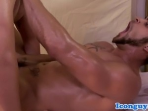 Muscle masseur jerking and cocksucking
