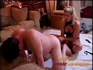 Dirty talking blonde mistress pegs her obedient slave with