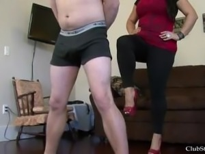 Ballbusting in high heels