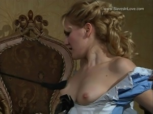 Blonde slave girl spanked and humiliated.