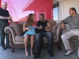 Voluptuous blonde wife plays out her wild fantasy with a black stud