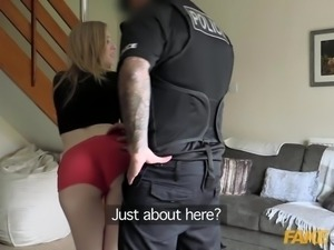 Fake Cop Pole dance slut fucks uniformed cop