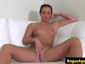 Auditioning euro fingering her juicy pussy