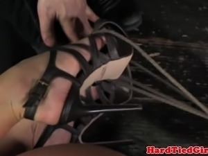 Mouth gagged slut is handling rough treatment