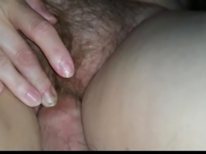 wife likes to get off rubbing my cock on her hairy pussy