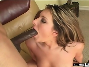 Sultry blonde has a dark stallion banging her slit in every position