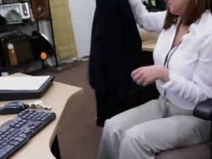 Blonde woman sucks a big hard dick in the office deep