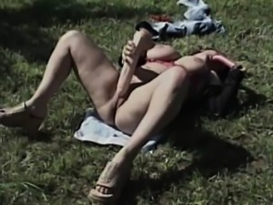 Dirty Granny Takes Her Toys Outdoor